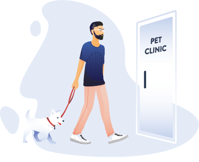 Man and dog walking into a pet clinic
