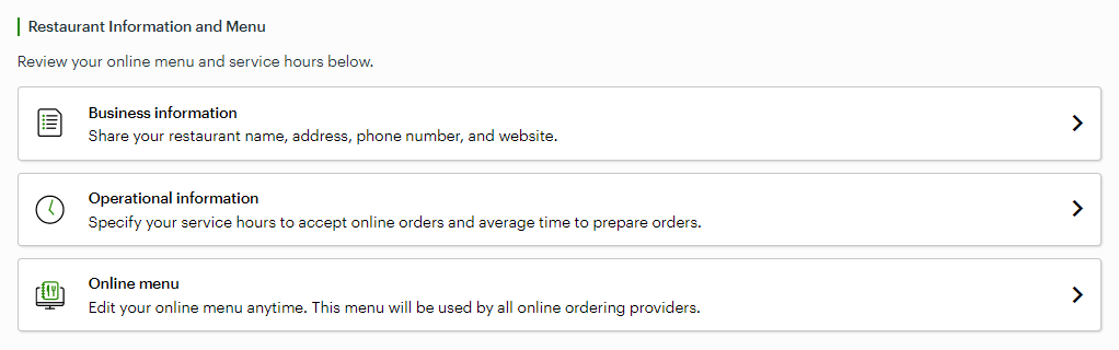 Screenshot showing the Clover online ordering settings